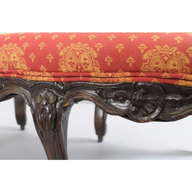 Early 20th Century Antique Country French Louis XV Carved Wood Footstool For Sale - Image 5 of 11