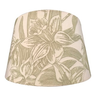 """Embroidered Dark Sage Green on Linen Floral """"Lilly Motif"""" Lampshade For Sale"""