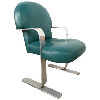 Postmodern Teal Green Leather and Aluminum Armchair For Sale