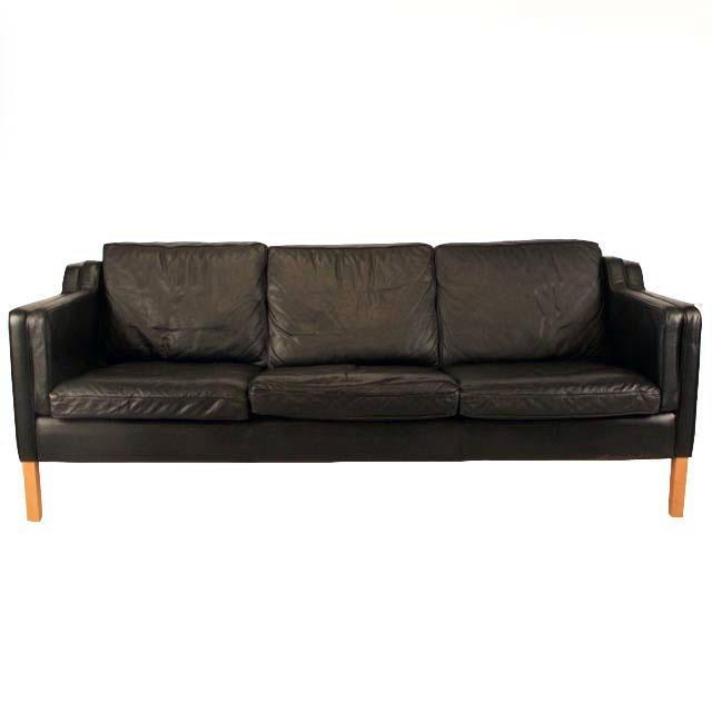 Black Vintage Danish Black Leather Stouby Sofa For Sale   Image 8 Of 8
