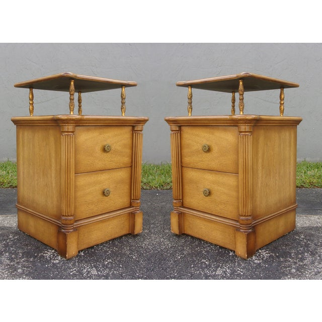 Vintage 2-Drawer Regency Style Nightstands - Pair - Image 6 of 10