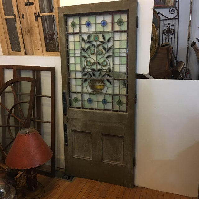 Beautiful 1920's English Stained Glass Door For Sale In New York - Image 6 of 11