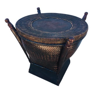 Vintage Handmade Rattan Side Table/Basket For Sale