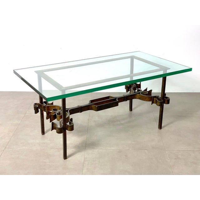 Brutalist Spanish Gilded Iron Glass Coffee Table, Circa 1950's For Sale - Image 4 of 10