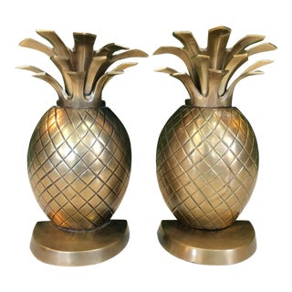 Brass Pineapple Bookends, Pair For Sale