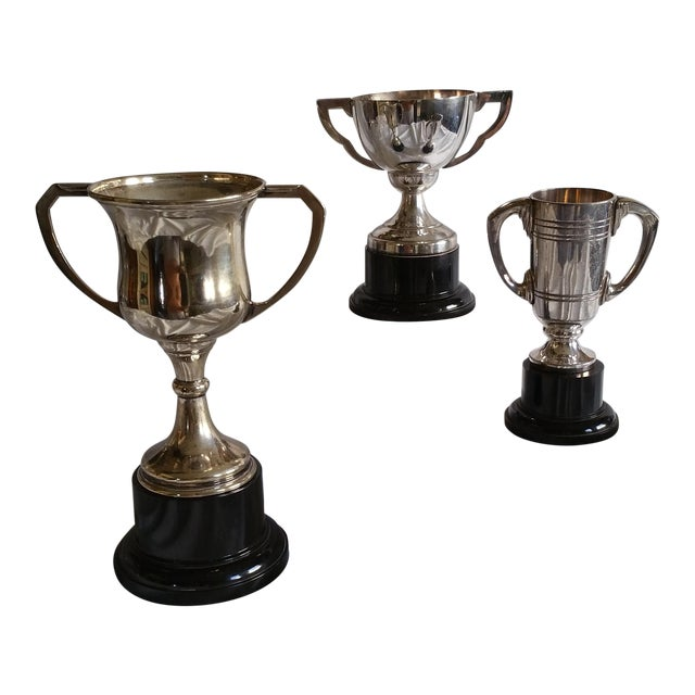 Silver Plated Sport Trophies - Set of 3 For Sale