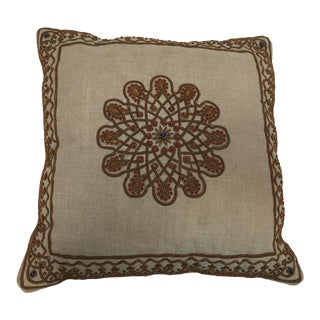 Throw Decorative Accent Pillow Embroidered With Moorish Metallic Threads Design For Sale