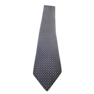 Hermes Blue & Black Classic Geometric Silk Tie For Sale