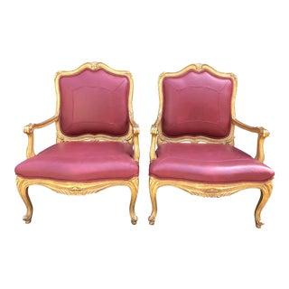 Nancy Corzine Designer Gilt-Wood Arm Chairs W Genuine Leather - a Pair For Sale