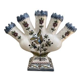 Handpainted Portuguese Signed Ceramic Tulipiere Vase For Sale