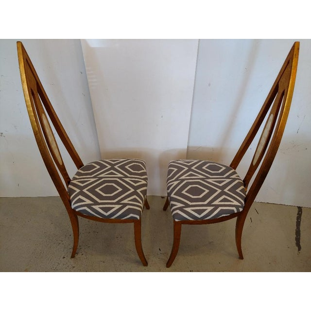 1960's Cathedral Arch-Backed Side Chairs, Gold-Leafed/ Shell Inlaid, a Pair For Sale - Image 4 of 12