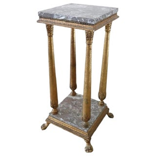 20th Century French Empire Style Gilded Wood Gueridon Table or Pedestal Table For Sale