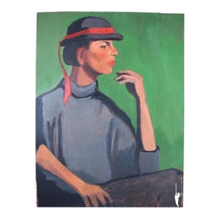 "Green Art Deco Style Portrait Painting of a Woman in a Hat 17.5"" X 23"" For Sale"