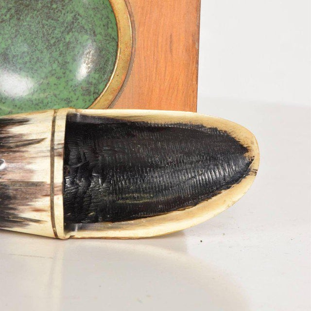 Mid-Century Modern Richard Rohac Horn Pipe Holder-Stand With Brass Ashtray, Austria, 1950s For Sale - Image 3 of 8
