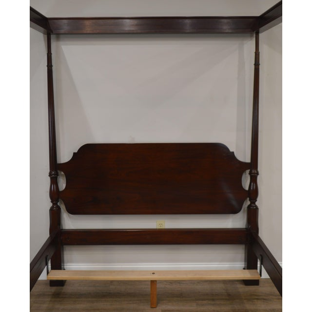 Stickley Stickley Solid Mahogany Queen Size Carved Canopy Poster Bed For Sale - Image 4 of 13