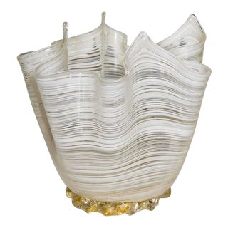 "1970s Vintage Murano ""Ribbon Handkerchief"" White & Gold Vase For Sale"