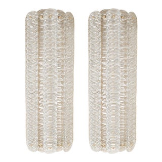 Demilune Ribbed Smoked Murano Glass Sconces by Barovier - a Pair For Sale