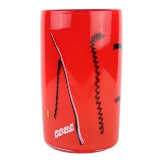 1990s Vintage Red Bruce Pizzichillo and Dari Gordon Art Glass Vase For Sale