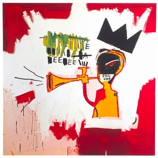 "Jean Michel Basquiat Estate Fine Art Lithograph Pop Art Print "" Trumpet "" 1984 For Sale"