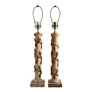 Painted Italian Gilt Wood Lamps For Sale