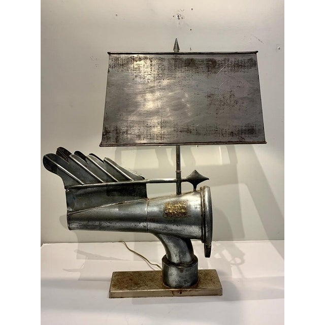 Custom Antique Industrial Ventilation Cone, by Banners No. 11593, Now as a Lamp For Sale - Image 9 of 13
