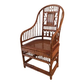 1980s Vintage Boho Chic Bamboo Barrel Back Chair For Sale