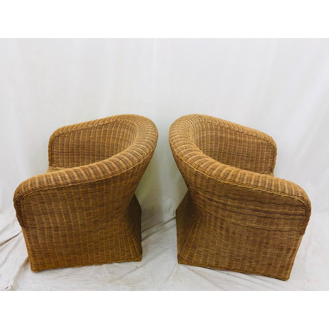 Bamboo Pair Vintage Woven Wicker Club Chairs For Sale - Image 7 of 10