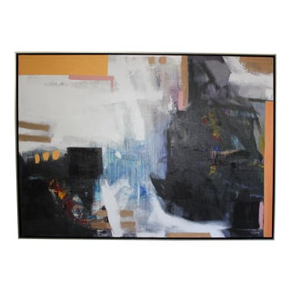 Large Abstract Framed Oil Painting on Canvas For Sale