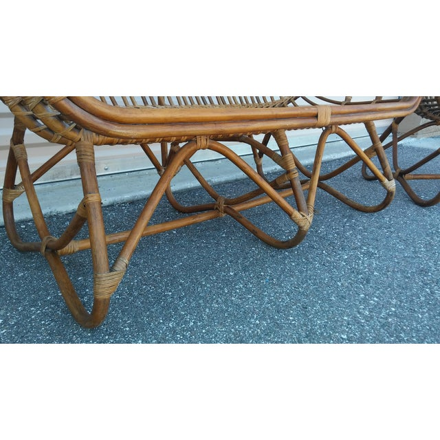 Vintage Franco Albini Rattan Loveseat and Chair - a Pair For Sale - Image 9 of 13