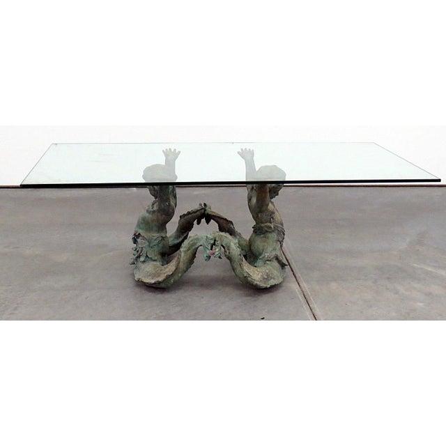 Bronze Putti Di Mare / Cherub base glass top table.