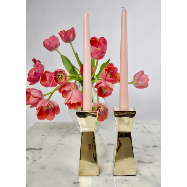Pair of Modern Brass Candlesticks. They were professionally polished for a mirror finish. I haven't found another pair of...