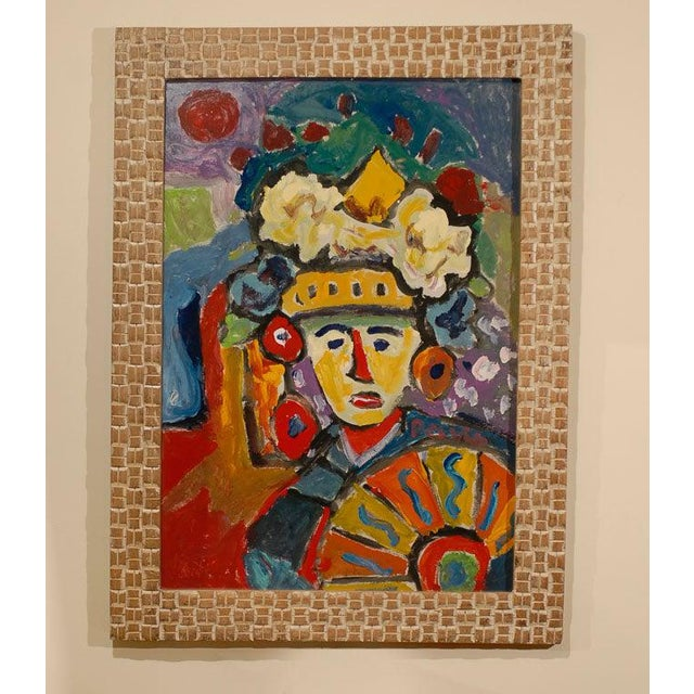 A Fauvist oil on board abstract painting by Hungarian artist Miklos Nemeth (1934-2012). This abstract portrait from the...