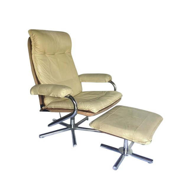 Mid Century Modern Chrome & Leather Recliner Chair and Ottoman Set