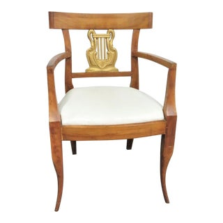Biedermeier Style Gilt Swan Arm Chair For Sale