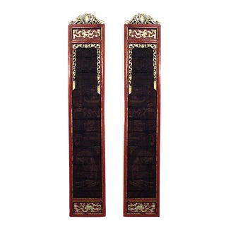 Chinese Red and Gold Lacquered Pilasters For Sale