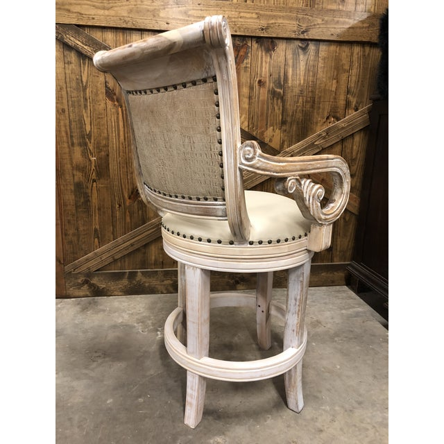 Christopher Guy French Country Rustic Antique White Bar Stool For Sale - Image 4 of 9