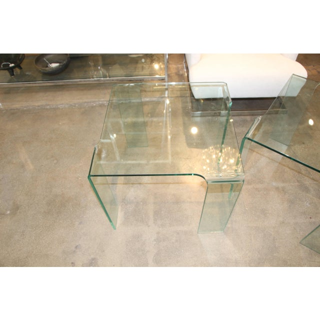 1980s Italian Glass Tables Attributed to Fiam - a Pair For Sale - Image 4 of 7