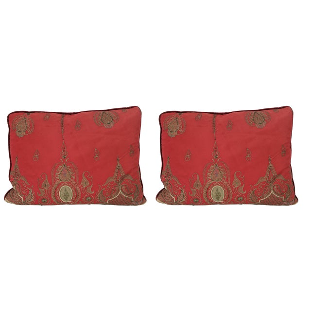 Pair of Antique Turkish Ottoman Silk Pillows With Metallic Threads For Sale - Image 13 of 13