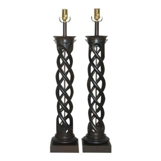 Chocolate Helix Lamps by Frederick Cooper For Sale