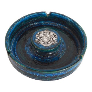 Mid Century Modern Bitossi Blue Ashtray With Silver Saxony Seal For Sale