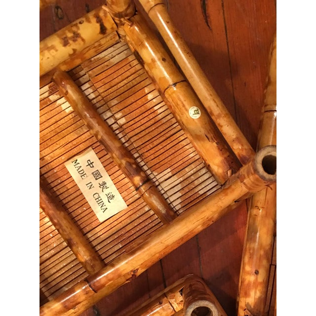 Vintage Tortoise Burnt Bamboo Nesting Stools - Set of 3 - Image 7 of 9