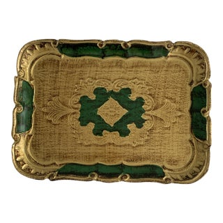 1970s Florentine Green and Gold Tray For Sale