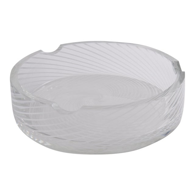 Spiral White & Clear Murano Glass Dish For Sale
