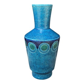 1960s Vintage Bitossi Italian Blue Pottery Vase For Sale