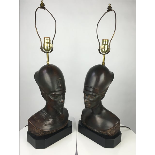 Stunning pair of rare Mid-Century Haruil bronzed Egyptian king and queen Pharaoh bust table lamps. Extremely clean-cut...