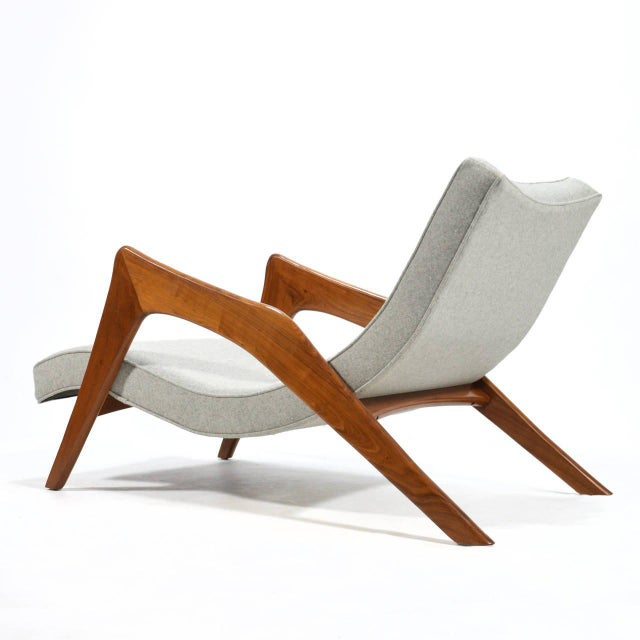 Adrian Pearsall Pair of Crescent Lounge Chairs and Ottomans For Sale - Image 9 of 10