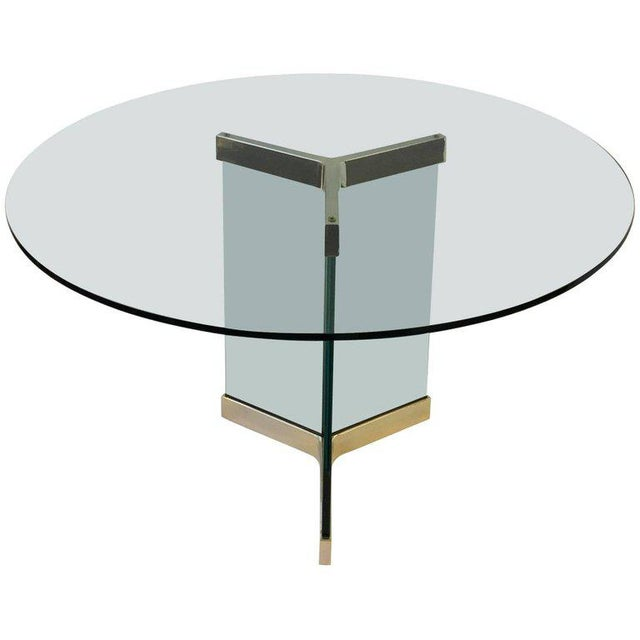 Gold Polished Brass and Glass Dining Table by Leon Rosen for Pace Collection For Sale - Image 8 of 8