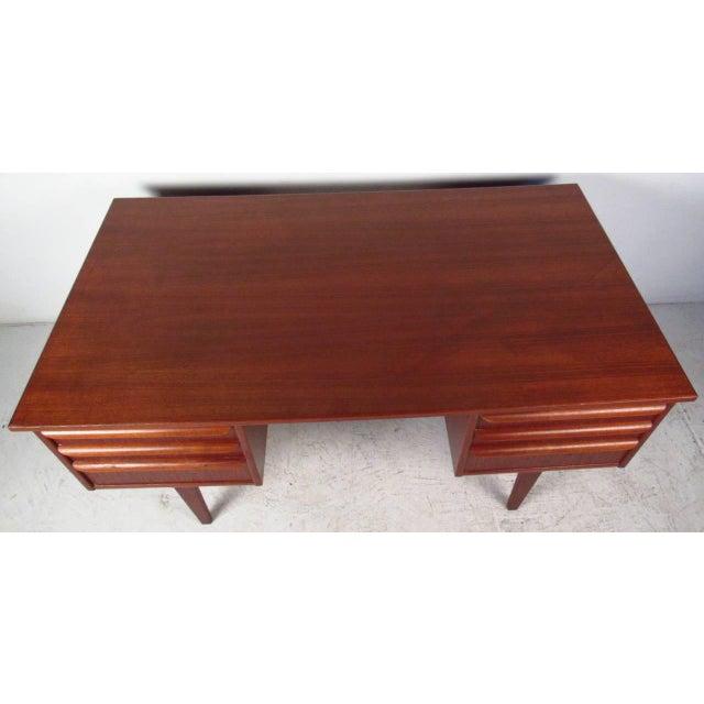 Double-Sided Scandinavian Modern Teak Desk - Image 5 of 9