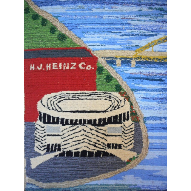 Blue 1960s Hand Woven Heinz Pittsburgh Pennsylvania Tapestry Fibre Art Wall Hanging For Sale - Image 8 of 12