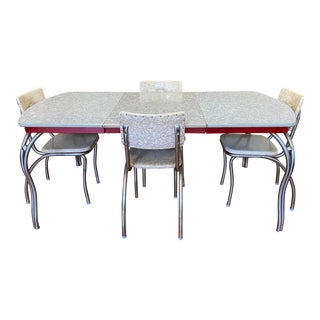 Mid 20th Century Retro Cracked Ice + Ruby Red Vinyl + Laminate Dining Set For Sale